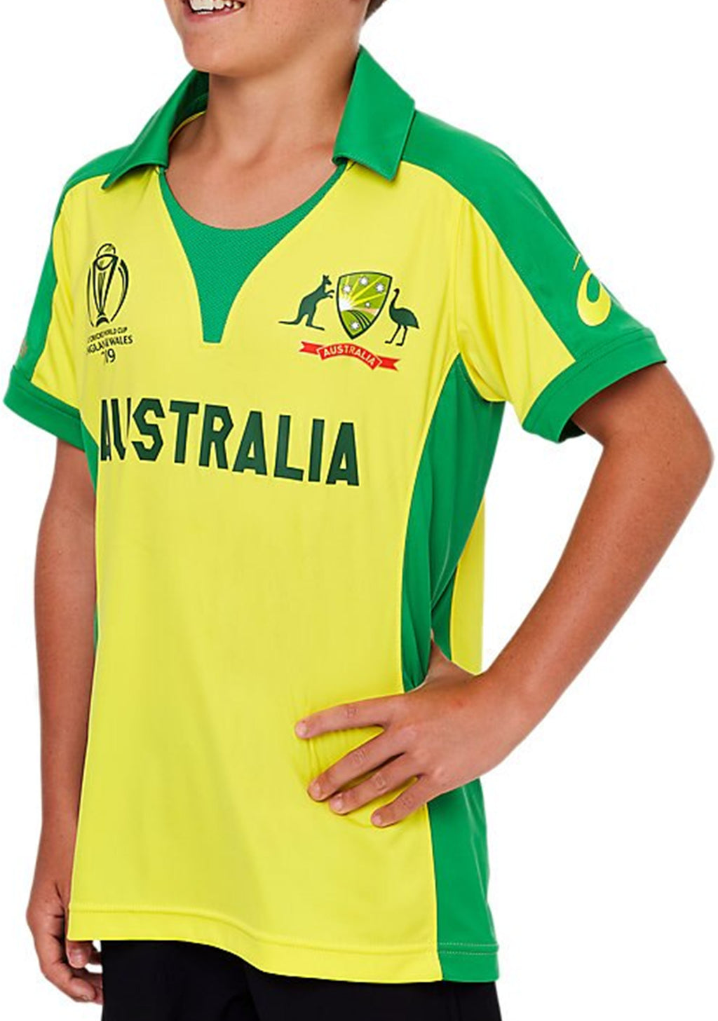 ASICS JUNIOR CRICKET WORLD CUP 2019 REPLICA HOME SHIRT <br> 2114A077 750