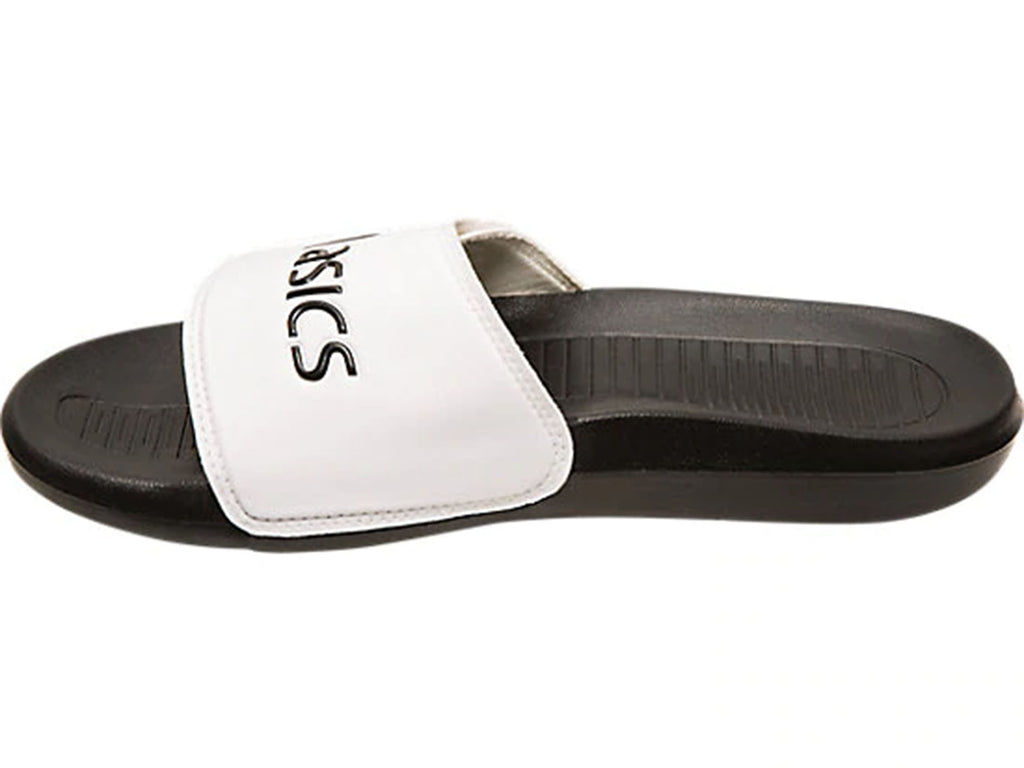 ASICS UNISEX ADJUSTABLE SLIDES AS002 BLACK/WHITE <BR> 1173A005 101