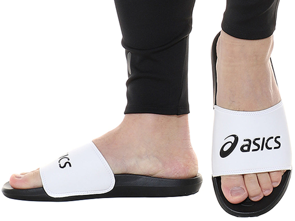 ASICS UNISEX SLIDES AS003 WHITE/BLACK<BR> 1173A006 101