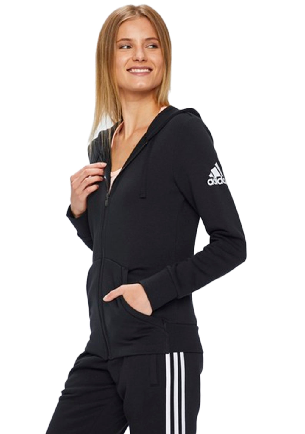 ADIDAS ESSENTIAL SOLID FULL ZIP HOODIE WOMENS <br> S97085