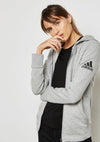 ADIDAS WOMENS ESSENTIAL SOLID FULL ZIP HOODIE GREY <BR> S97086