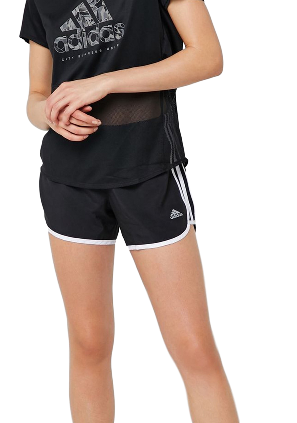 ADIDAS WOMENS MARATHON 20 SHORTS BLACK-WHITE <BR> DQ2645