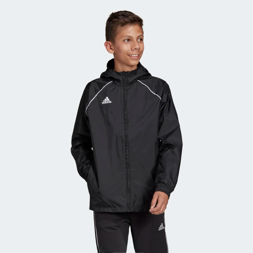 ADIDAS CORE 18 RAIN JACKET JUNIOR BLACK <br> CE9047