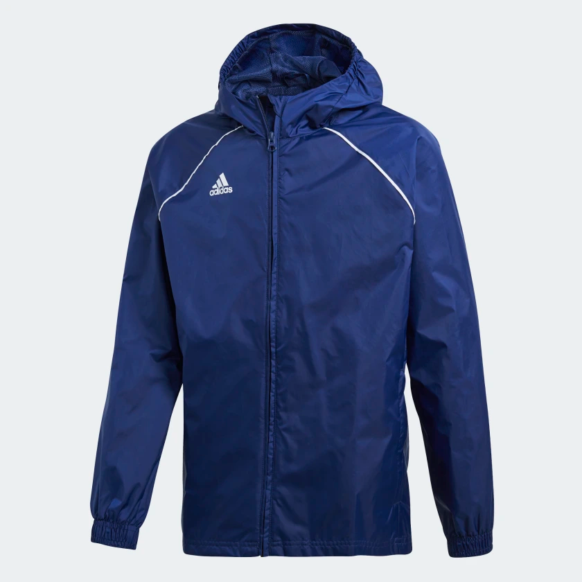 ADIDAS CORE 18 RAIN JACKET JUNIOR BLUE <br> CV3742