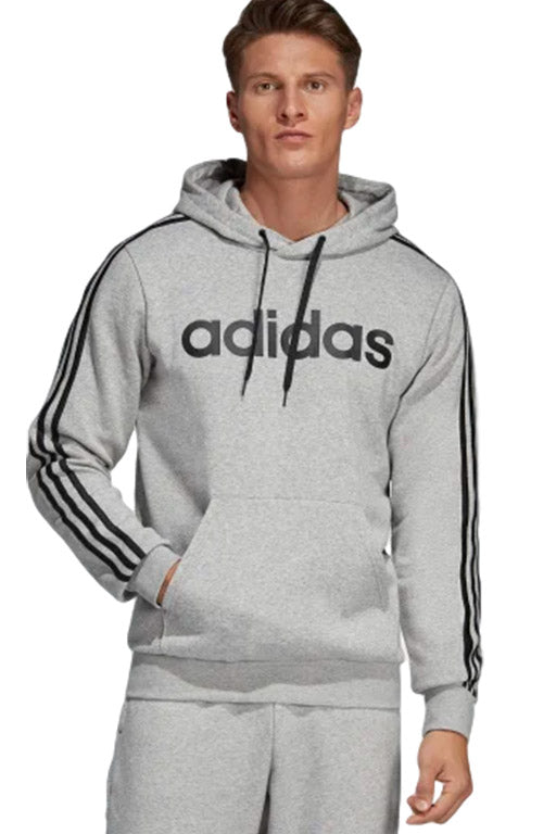 ADIDAS ESSENTIALS 3 STRIPES PULLOVER HOODIE MENS MEDIUM GREY HEATHER WITH FREE CHAMPION NAVY SLIDES <br> DU0495