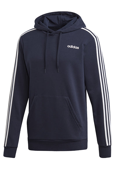 ADIDAS ESSENTIALS 3 STRIPE PULLOVER HOODIE MENS NAVY <br> DU0499