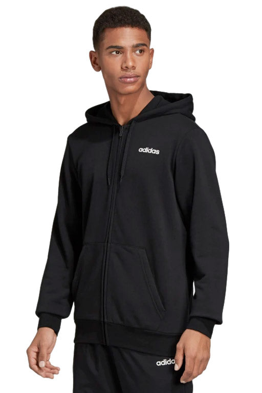 ADIDAS ESSENTIAL PLAIN FULL ZIP HOODIE MENS BLACK WITH FREE CHAMPION NAVY SLIDES <br> DU0383