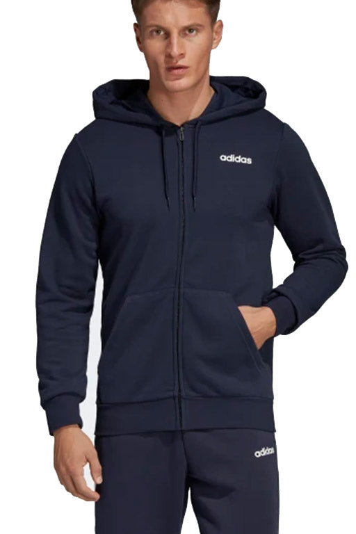 ADIDAS ESSENTIALS PLAIN FULL ZIP HOODIE MENS NAVY <br> DU0386