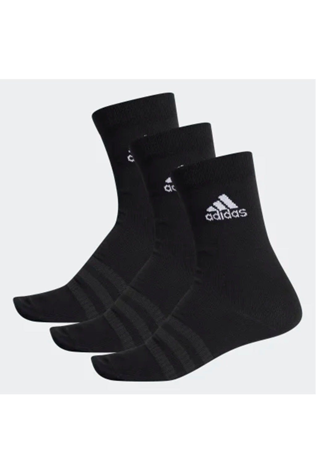 ADIDAS LIGHT CREW BLACK 3 PACK SOCKS <BR> DZ9394