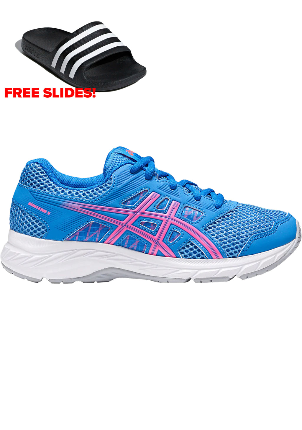 ASICS JUNIOR GEL CONTEND 5 GS WITH FREE AQUA SLIDES <BR> 1014A049 402