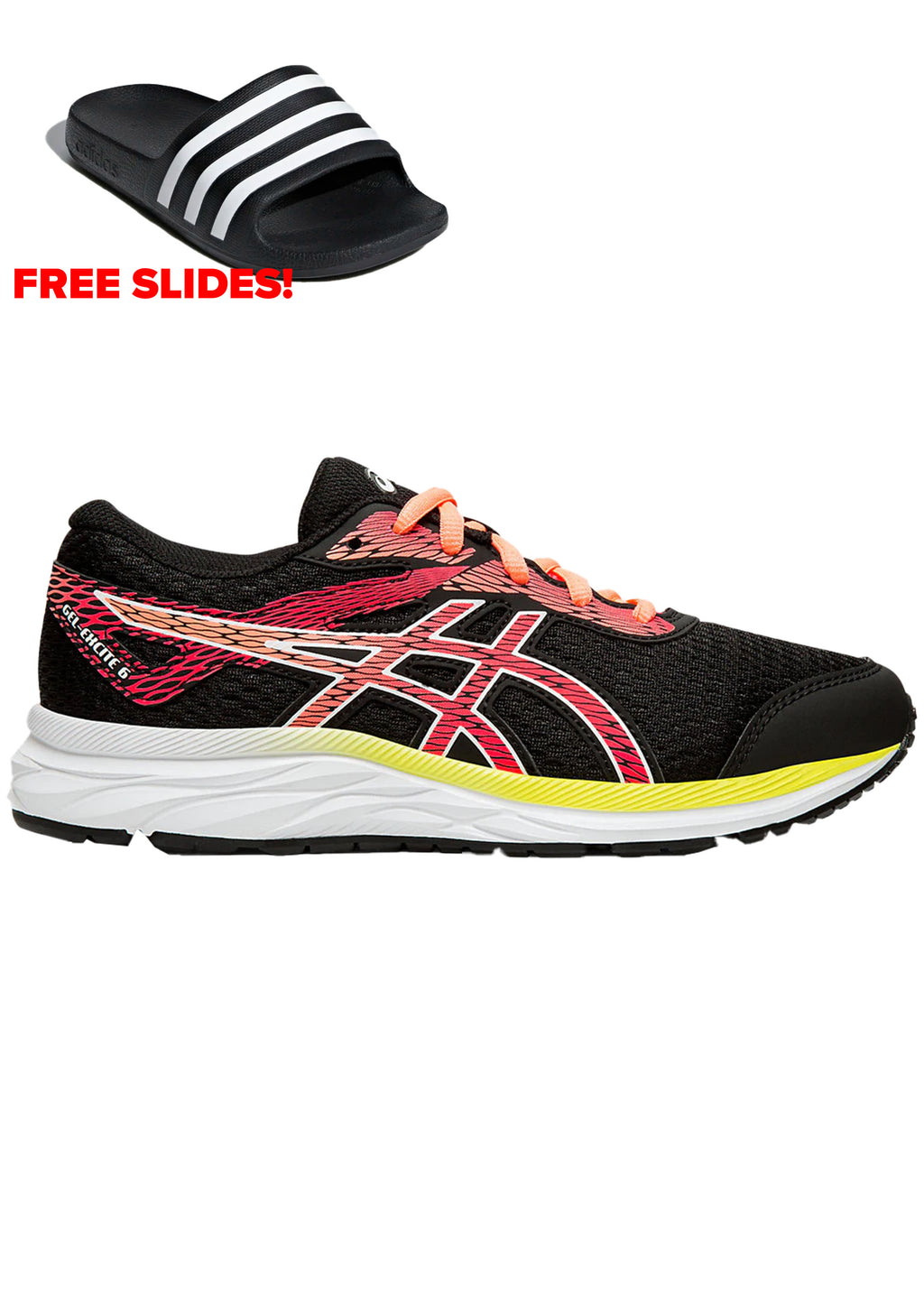 ASICS JUNIOR GEL EXCITE 6 GS WITH FREE AQUA SLIDES <BR>1014A079 002