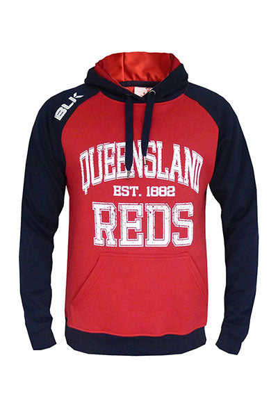 BLK QUEENSLAND REDS 2015 PULLOVER GRAPHIC HOODIE JUNIOR <br> QRFL323NVY