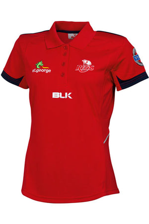 BLK QUEENSLAND REDS 2015 MEDIA POLO WOMENS <br> QRPO331RED