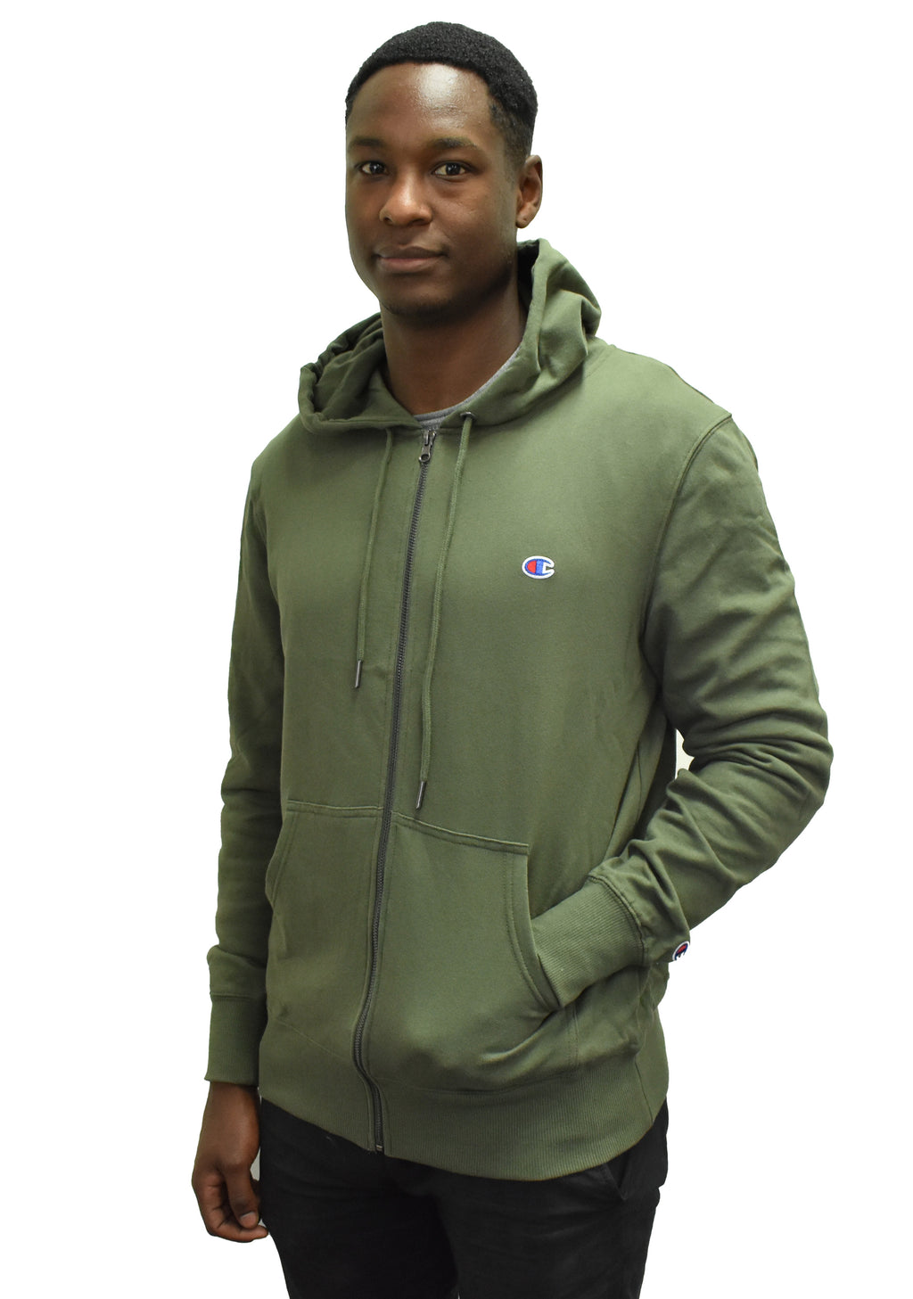 CHAMPION C LOGO ZIP HOODIE MENS SIX IRON KHAKI <br> AXXAN DHK