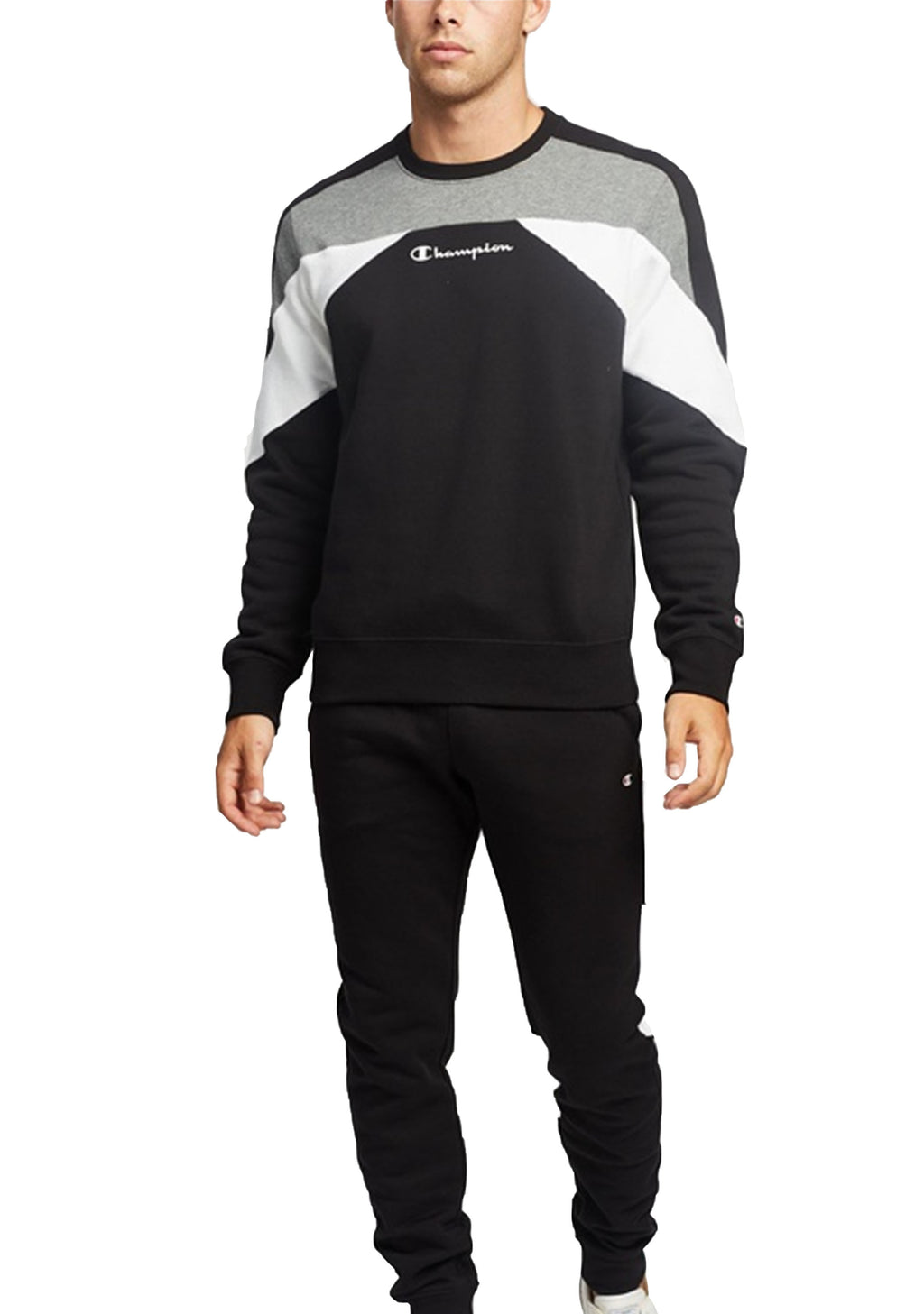 CHAMPION MENS EU COLOUR BLOCK CREW BLACK <BR> AWFQA1 BLK