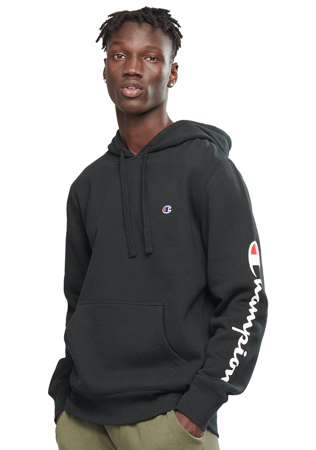 CHAMPION MENS GRAPHIC TAPE HOODIE <br> AXWPN