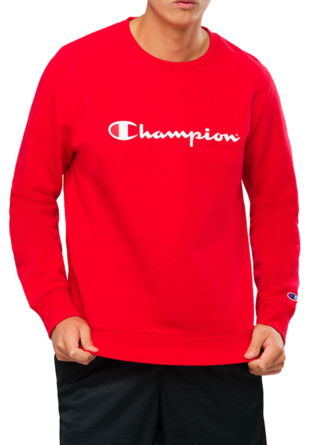 CHAMPION MENS SCRIPT CREW CHERRY RED <br> AY77N EPX