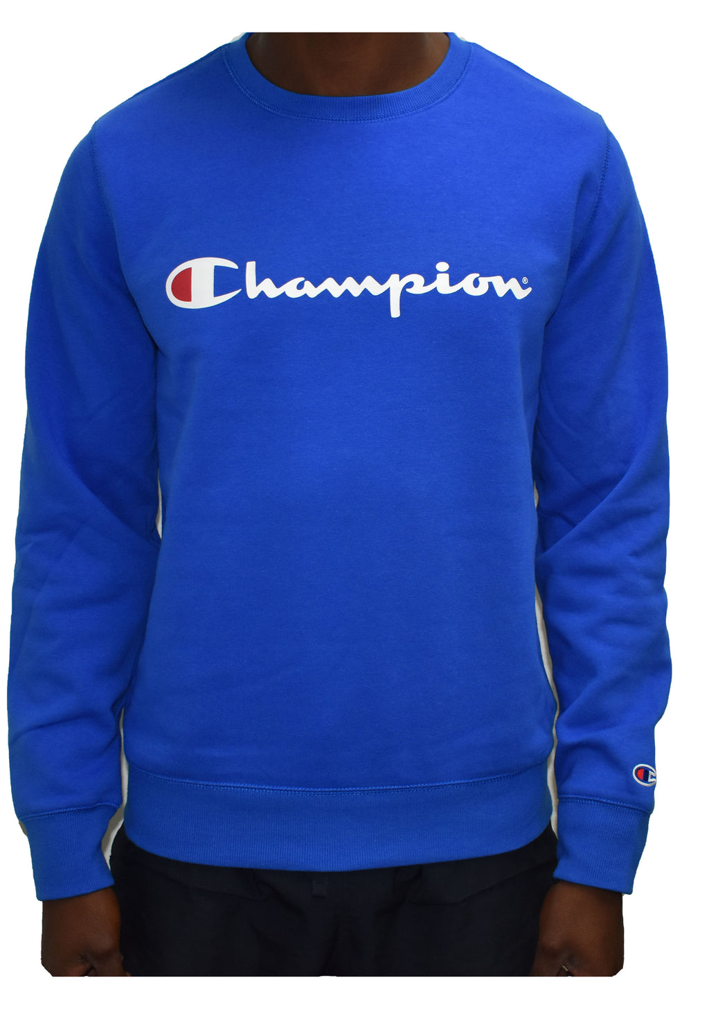 CHAMPION MENS SCRIPT CREW TRIPLE AXEL BLUE <BR> AY77N DHM