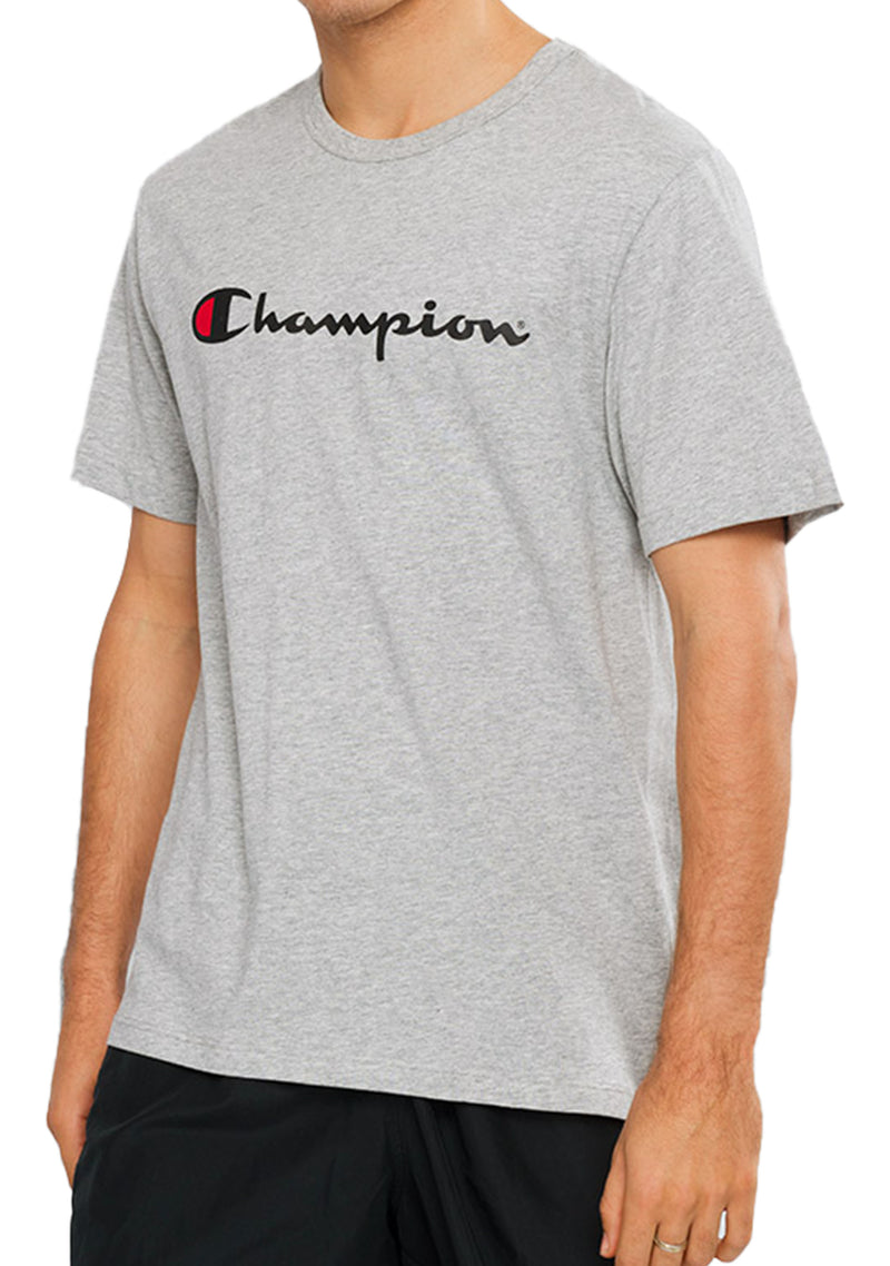 CHAMPION SCRIPT SHORT SLEEVE TEE MENS GREY <BR> AXQPN A3R OXFORD HEATHER