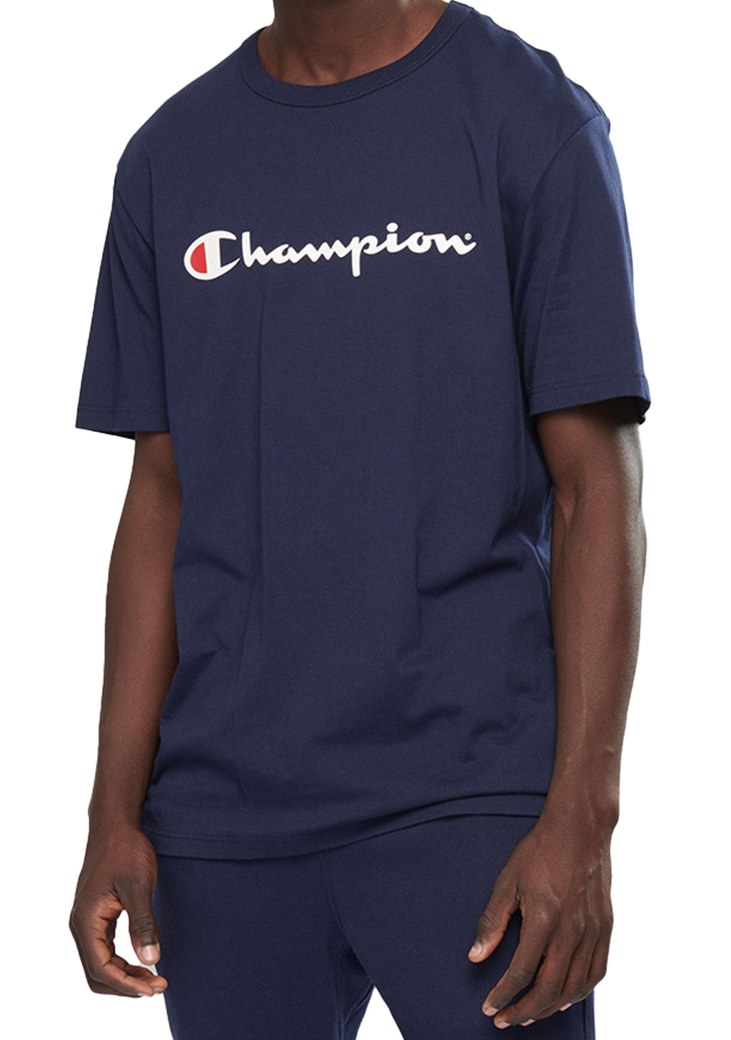 CHAMPION MENS SCRIPT SHORT SLEEVE TEE NAVY BLUE <BR> AXQPN NVY