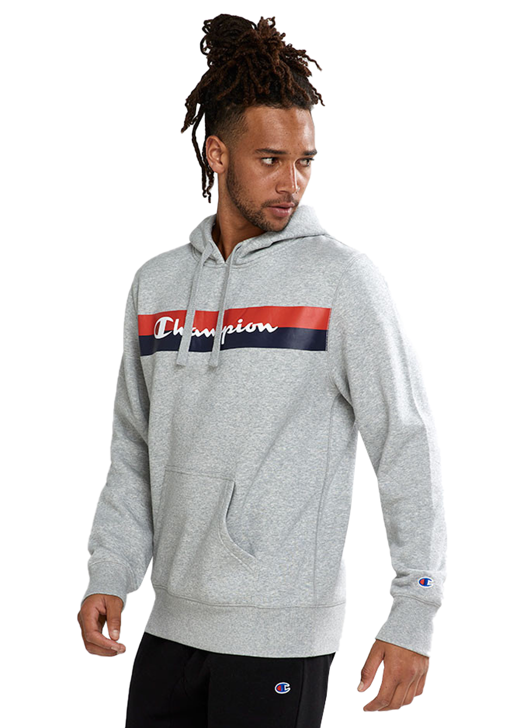 CHAMPION MENS SPORTY GRAPHIC PRINT HOODIE OXFORD GREY <br> AXWPN 6Y4