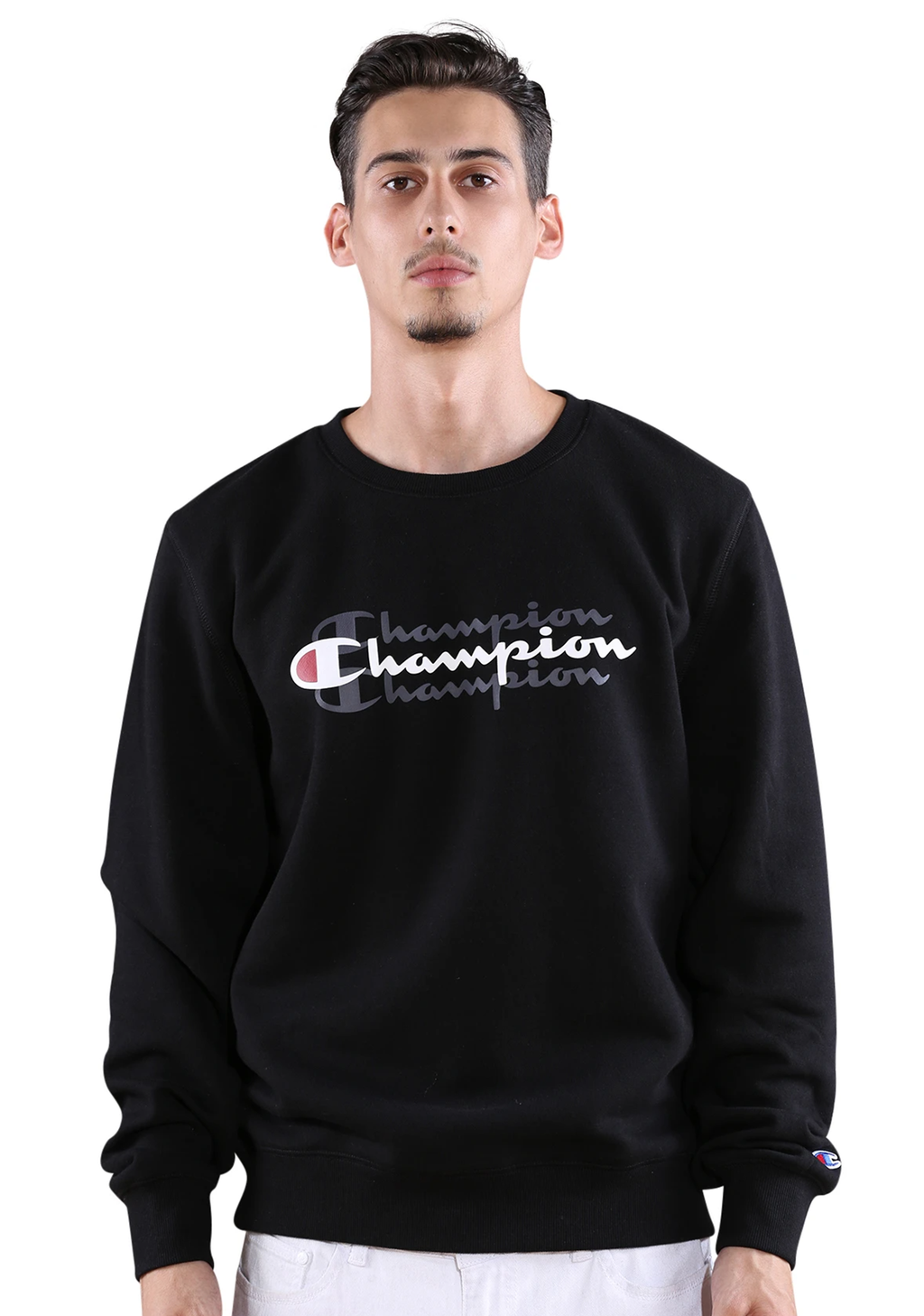 CHAMPION MENS SPORTY GRAPHIC CREW <br> AXWTN