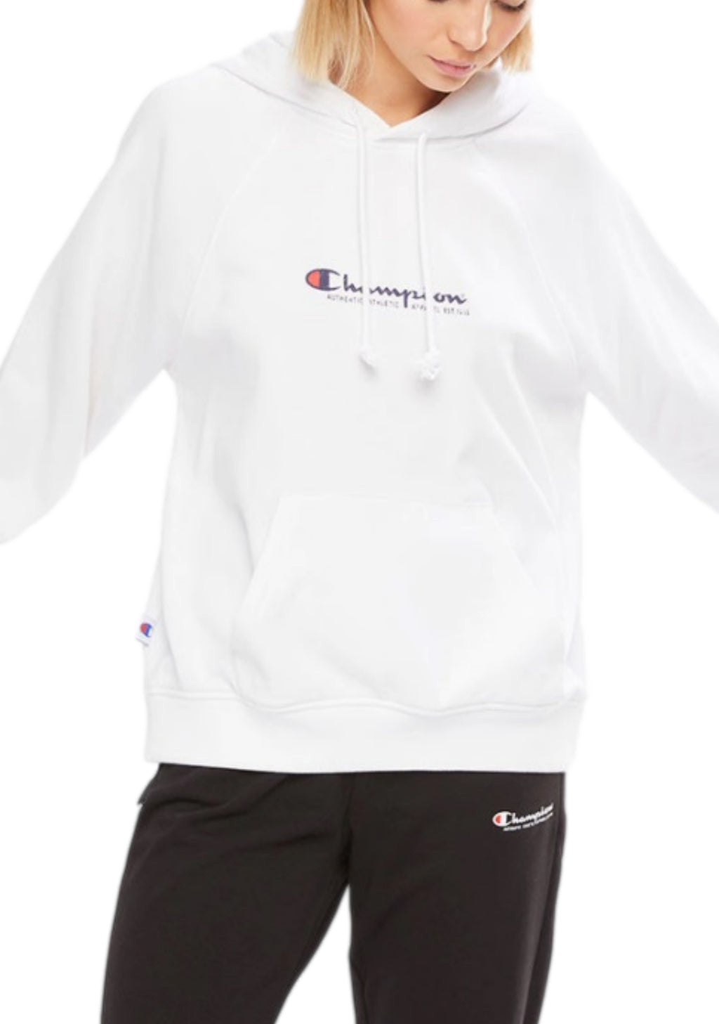 CHAMPION WOMENS FRENCH TERRY SCRIPT HOODIE <BR> CU7LN WIT WHITE