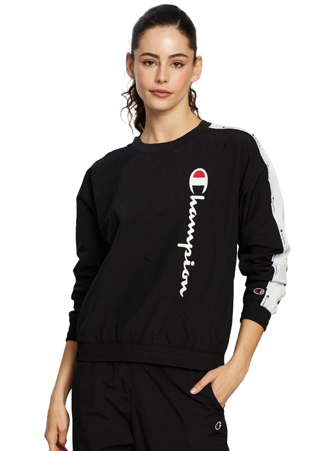 CHAMPION WOMENS EU ROCHESTER CRINKLE CREW <BR> CTXNA1 BLK