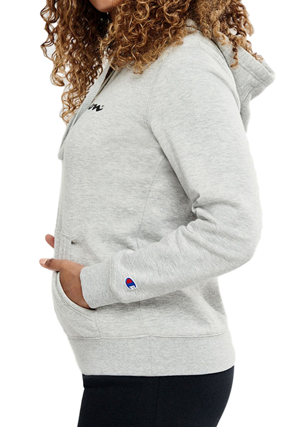 CHAMPION SCRIPT HOODIE WOMENS OXFORD HEATHER <br> CWG4N A3R