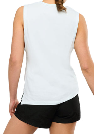 CHAMPION WOMENS SCRIPT MUSCLE TANK <BR> CVRFN WIT WHITE