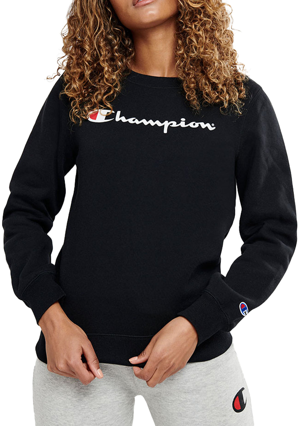 CHAMPION VF SCRIPT CREW SWEAT WOMENS <br> CWFYN