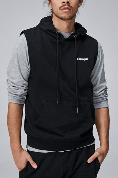 CHAMPION FRENCH TERRY SCRIPT SLEEVELESS HOODIE MENS BLACK <br> AXX8N BLK
