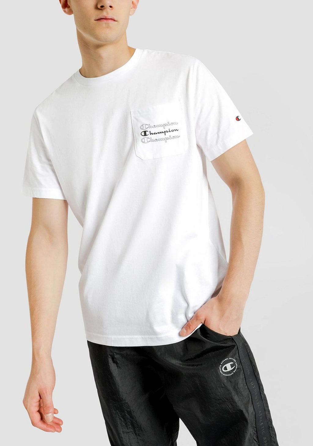 CHAMPION MENS EU ROCHESTER POCKET TEE <BR> AWC6A1
