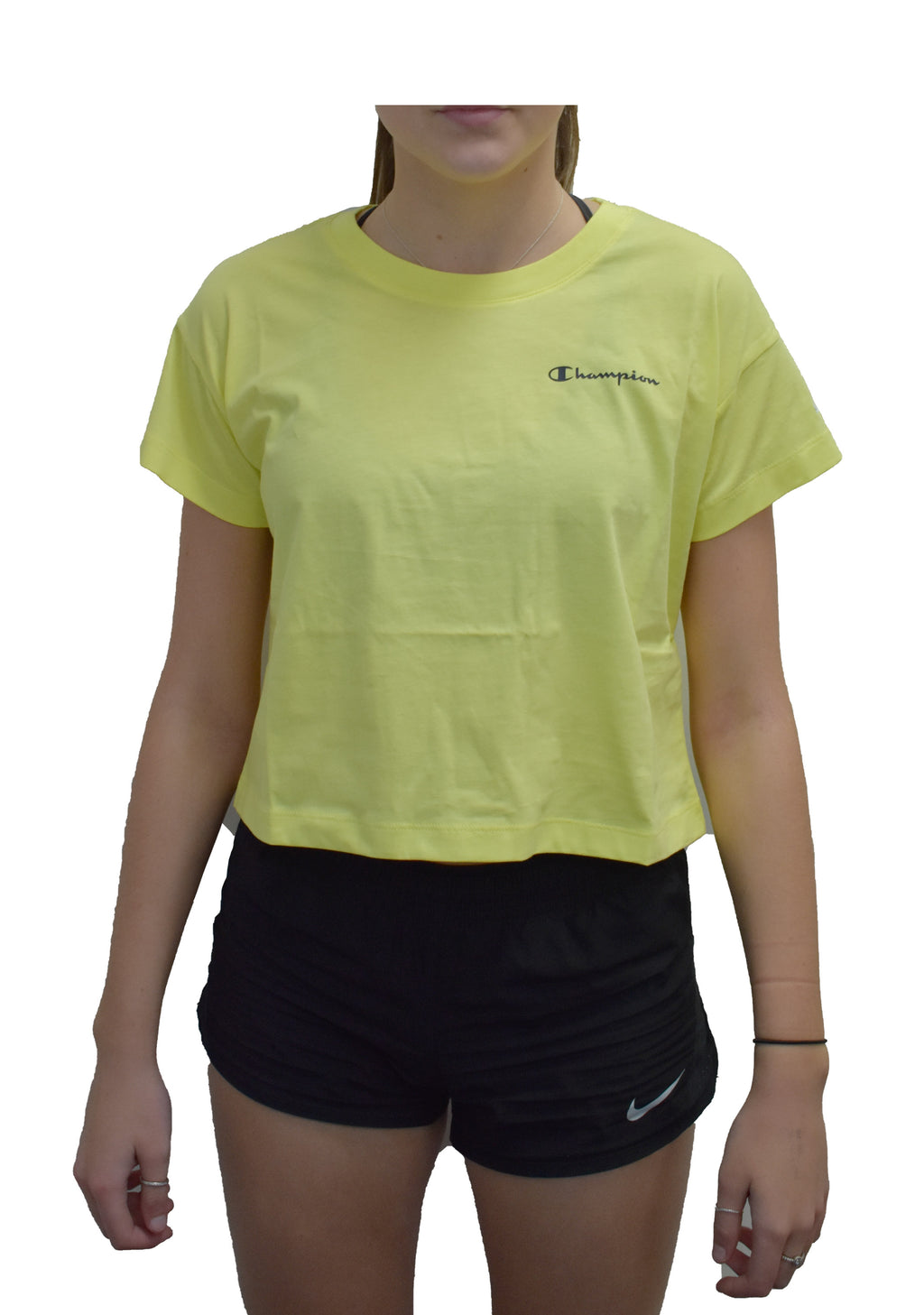 CHAMPION WOMENS EU CROP TEE SOFT YELLOW <BR> CTYNA1 15Q