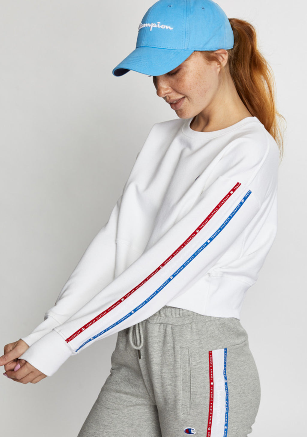 CHAMPION WOMENS ID COLLECTION TAPE CREW WHITE <BR> CV4YN