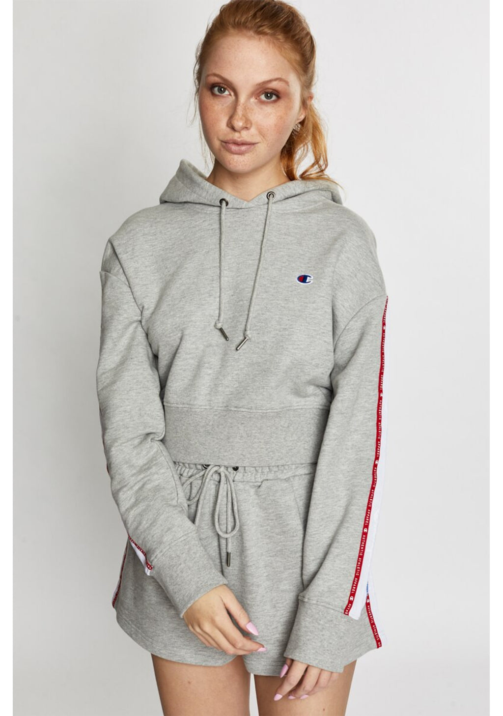CHAMPION WOMENS ID COLLECTION TAPE HOODIE (GREY) <BR> CV4XN A3R