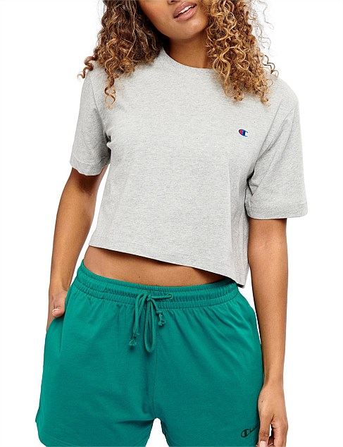 CHAMPION WOMENS ROCHESTER RUGBY CROP TEE <BR> CUMTN A3R OXFORD GREY