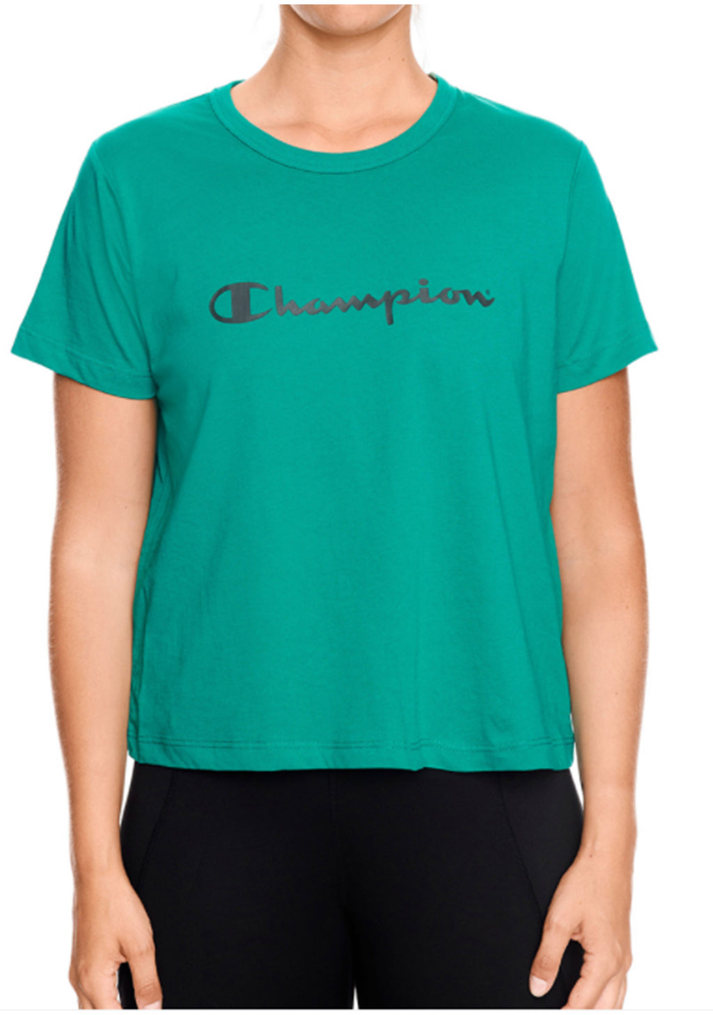 CHAMPION WOMENS SCRIPT BOXY TEE HOT TROPIC GREEN <BR> CUWGN XNY