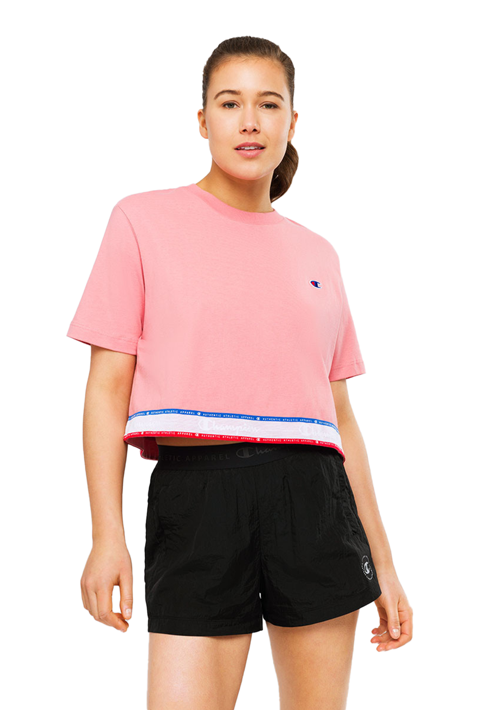 CHAMPION WOMENS ID TAPE TEE <BR> CV66N