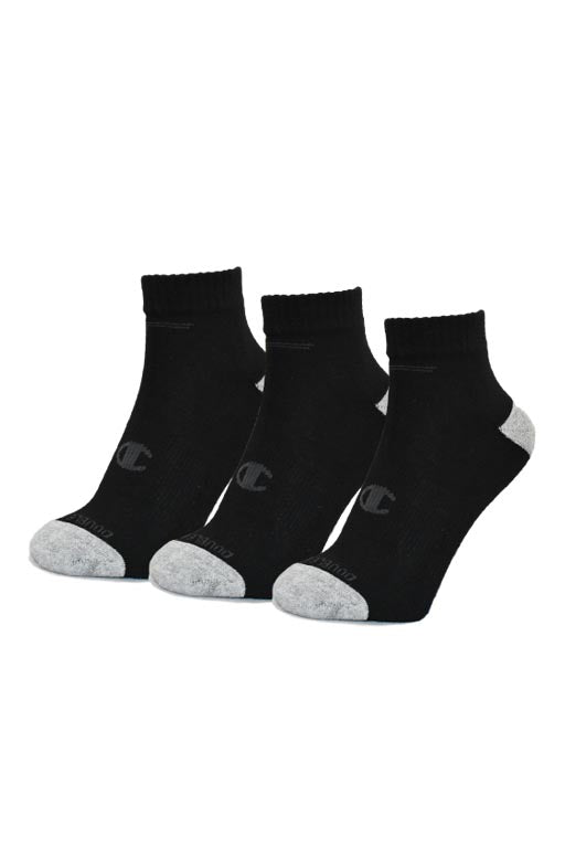 CHAMPION QUARTER CUT 3 PACK JUNIOR SOCKS <br> AK096 BLK