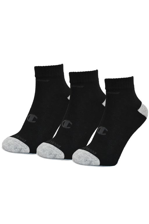 CHAMPION AUTHENTIC QUARTER CUT 3 PACK MENS SOCKS <br> AK096 BLK