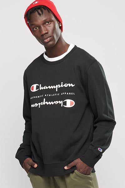 CHAMPION SPORTY CREW MENS BLACK <br> AXWTN 1JR