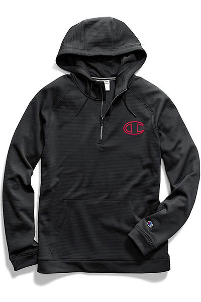 CHAMPION TEC FLEECE QUARTER ZIP HOODIE MENS <br> AXT9N XAM