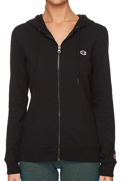 CHAMPION FRENCH TERRY C LOGO ZIP HOODIE WOMENS BLACK <br> CW7PN BLK