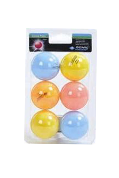DONIC SCHILDKROT COLOR POPPS 6 PACKET ASSORTED COLOUR TABLE TENNIS BALLS <br> T3648806