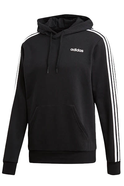 ADIDAS ESSENTIALS 3 STRIPE PULLOVER HOODIE MENS BLACK <br> DU0498