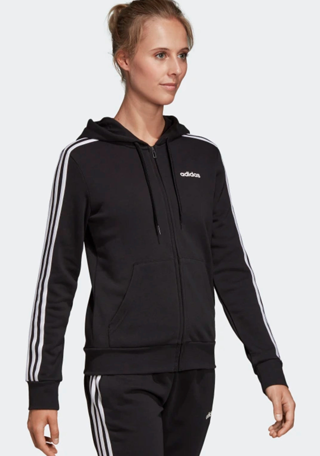 ADIDAS WOMENS ESSENTIAL 3 STRIPE FLEECE ZIP UP HOODIE <BR> DP2412