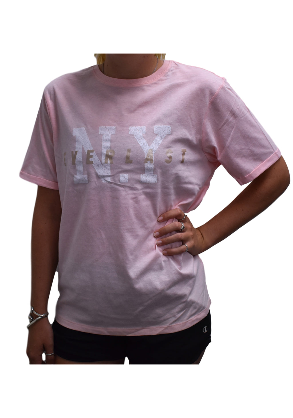 EVERLAST WOMENS BOYFRIEND TEE PINK <BR> DWELT214