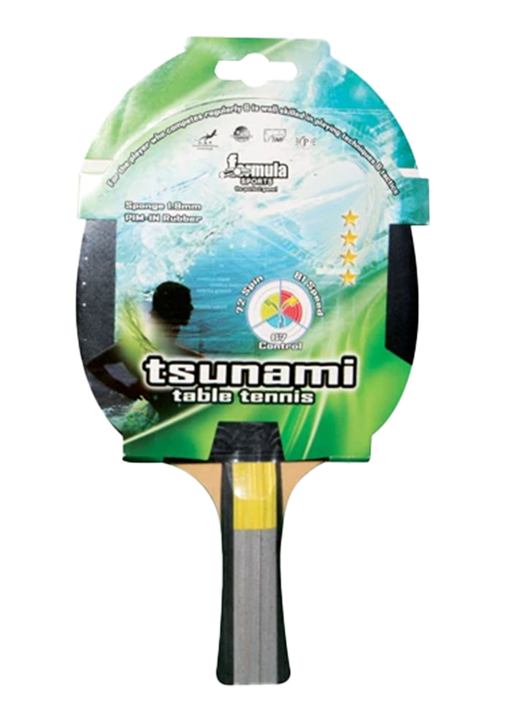 FORMULA SPORTS TSUNAMI 4 STAR TABLE TENNIS BAT <br> T40400