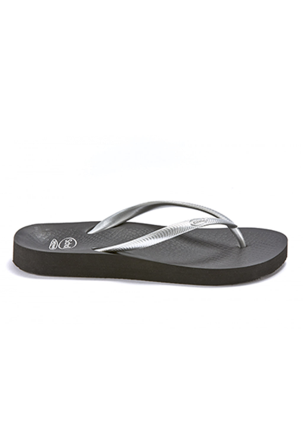 ORTHAHEEL FIJI RUBBER THONG WOMENS SILVER/BLACK